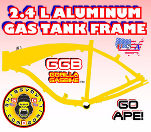 2.4 L GOLD COLOR ALUMINUM GAS TANK FRAME FOR 2-STROKE 4-STROKE 48CC/66CC/80CC MOTORIZED BIKES