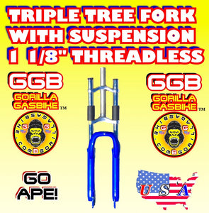 "BLUE TRIPLE TREE SUSPENSION FORK 1 1/8"" THREADLESS FOR 2-STROKE 4-STROKE 48CC/66CC/80CC MOTORIZED BIKES"