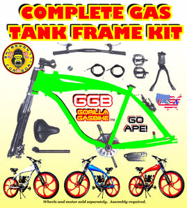 2.4 L GREEN ALUMINUM GAS TANK FRAME KIT FOR 2-STROKE 4-STROKE 48CC/66CC/80CC MOTORIZED BIKES