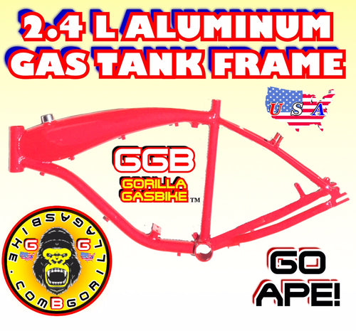2.4 L RED ALUMINUM GAS TANK FRAME FOR 2-STROKE 4-STROKE 48CC/66CC/80CC MOTORIZED BIKES