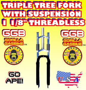 "BLACK TRIPLE TREE SUSPENSION FORK 1 1/8"" THREADLESS FOR 2-STROKE 4-STROKE 48CC/66CC/80CC MOTORIZED BIKES"