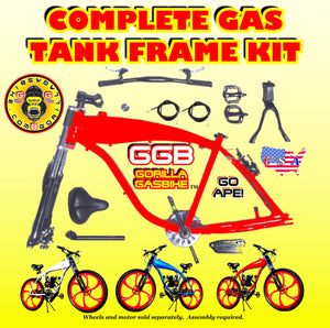 2.4 L RED ALUMINUM GAS TANK FRAME KIT FOR 2-STROKE 4-STROKE 48CC/66CC/80CC MOTORIZED BIKES