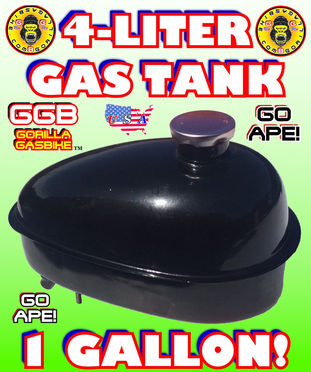 GAS TANK BLACK 4 LITER FOR 2-STROKE 4-STROKE 48CC/66CC/80CC MOTORIZED BIKE