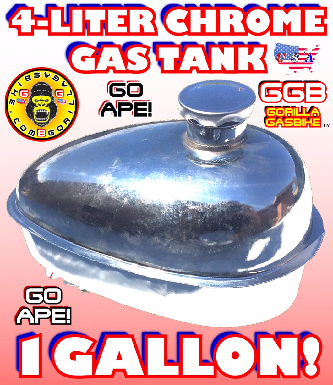 GAS TANK CHROME 4 LITER FOR 2-STROKE 4-STROKE 48CC/66CC/80CC MOTORIZED BIKE