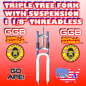 "WHITE TRIPLE TREE SUSPENSION FORK 1 1/8"" THREADLESS FOR 2-STROKE 4-STROKE 48CC/66CC/80CC MOTORIZED BIKES"