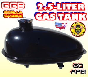 GAS TANK BLACK 2.5 LITER FOR 2-STROKE 4-STROKE 48CC/66CC/80CC MOTORIZED BIKE