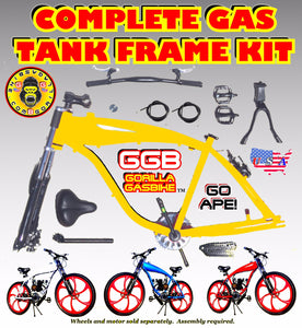 2.4 L GOLD COLOR ALUMINUM GAS TANK FRAME KIT FOR 2-STROKE 4-STROKE 48CC/66CC/80CC MOTORIZED BIKES
