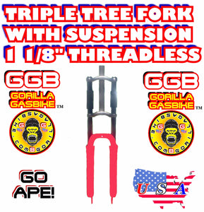 "HOT PINK TRIPLE TREE SUSPENSION FORK 1 1/8"" THREADLESS FOR 2-STROKE 4-STROKE 48CC/66CC/80CC MOTORIZED BIKES"