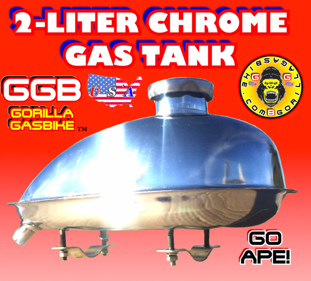 GAS TANK CHROME 2 LITER FOR 2-STROKE 4-STROKE 48CC/66CC/80CC MOTORIZED BIKE