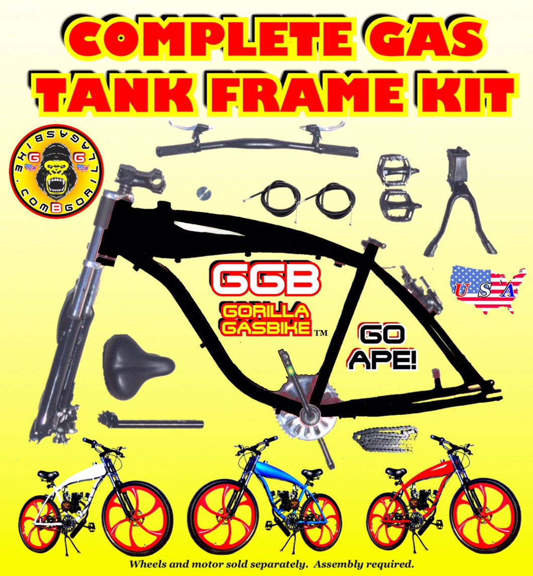 2.4 L BLACK ALUMINUM GAS TANK FRAME KIT FOR 2-STROKE 4-STROKE 48CC/66CC/80CC MOTORIZED BIKES