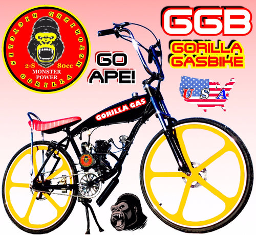 MONSTER 29ER TM COMPLETE DO-IT-YOURSELF 2-STROKE 66CC/80CC MOTORIZED GAS TANK CRUISER BIKE SYSTEM BLACK YELLOW