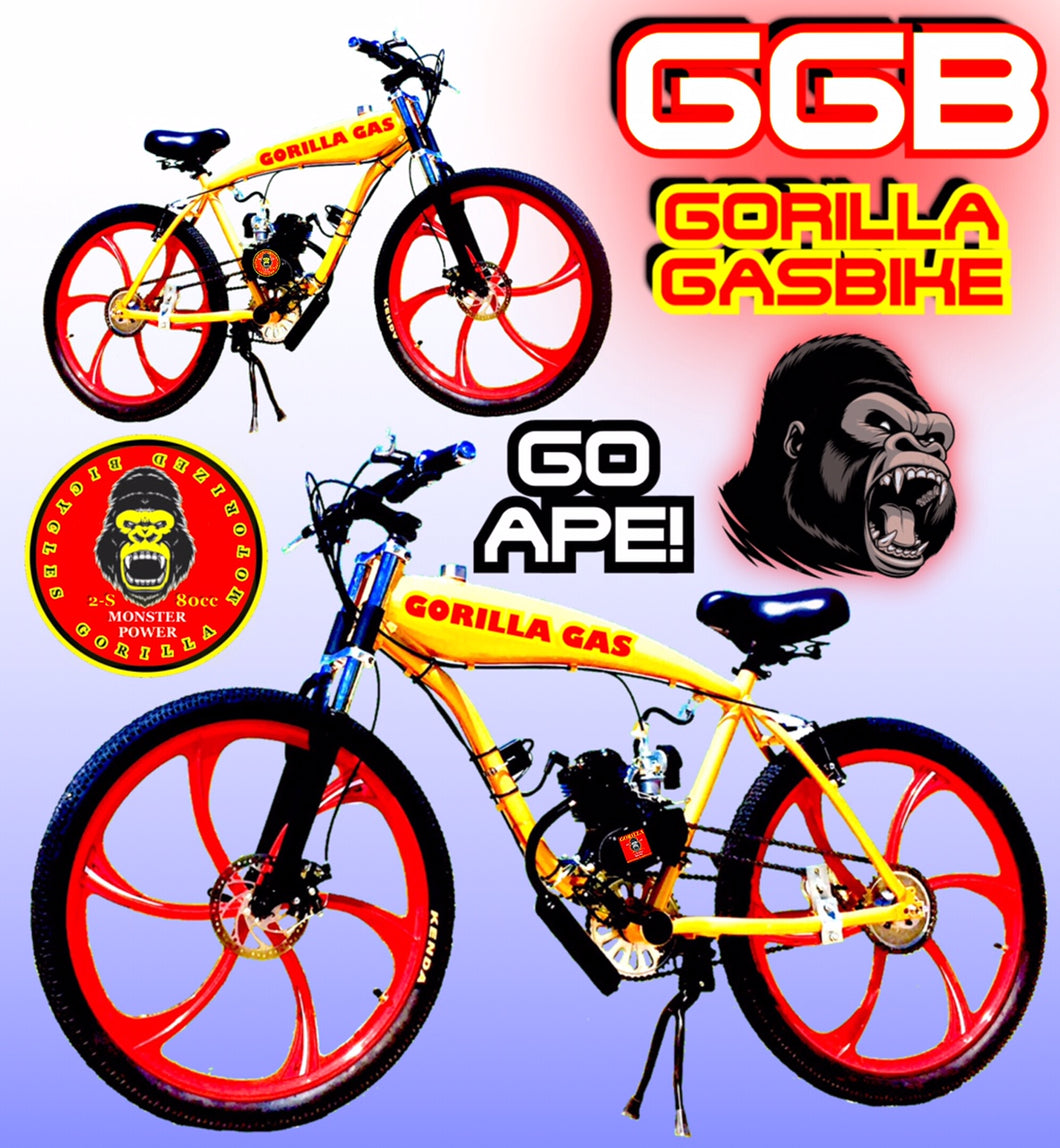 MONKEY BUSINESS TM FULLY MOTORIZED 2-STROKE 66CC/80CC GAS TANK CRUISER BIKE SYSTEM GOLD RED