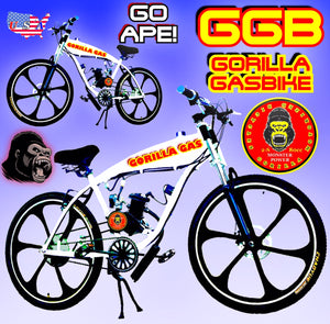 MONKEY BUSINESS TM COMPLETE DO-IT-YOURSELF 2-STROKE 66CC/80CC MOTORIZED GAS TANK CRUISER BIKE SYSTEM WHITE BLACK