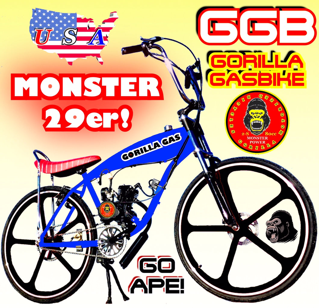 MONSTER 29ER TM FULLY MOTORIZED 2-STROKE 66CC/80CC GAS TANK CRUISER BIKE SYSTEM BLUE BLACK