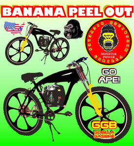 "BANANA PEEL OUT TM COMPLETE 4-STROKE FULLY MOTORIZED BIKE SYSTEM WITH GAS TANK FRAME BIKE 26"" BLACK YELLOW"