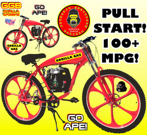 "BANANA PEEL OUT TM COMPLETE 4-STROKE DO-IT-YOURSELF MOTORIZED BIKE SYSTEM WITH 26"" GAS TANK FRAME BIKE RED"