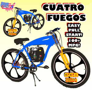 "CUATRO FUEGOS TM COMPLETE 4-STROKE DO-IT-YOURSELF MOTORIZED BIKE SYSTEM WITH 26"" GAS TANK FRAME BIKE BLUE"