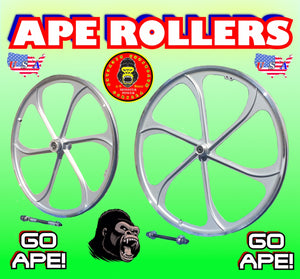 "APE ROLLERS TM 26"" SILVER ALUMINUM MAG WHEELS FOR MOTORIZED BIKES"