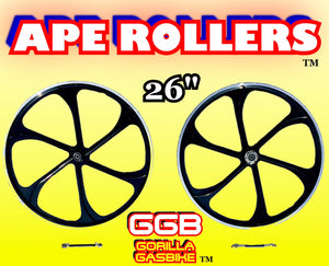 "APE ROLLERS TM 26"" ALUMINUM MAG WHEELS FOR MOTORIZED BIKES"