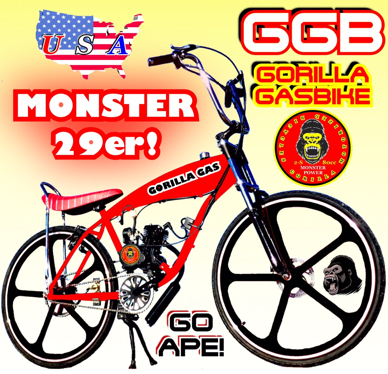 MONSTER 29ER TM COMPLETE DO-IT-YOURSELF 2-STROKE 66CC/80CC MOTORIZED GAS  TANK CRUISER BIKE SYSTEM RED BLACK