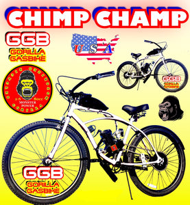 CHIMP CHAMP TM COMPLETE DO-IT-YOURSELF 2-STROKE MOTORIZED CRUISER BIKE SYSTEM WHITE