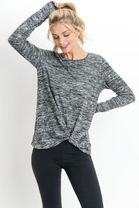 Bundle Front Relaxed Round Neck Sweatshirt - Charcoal
