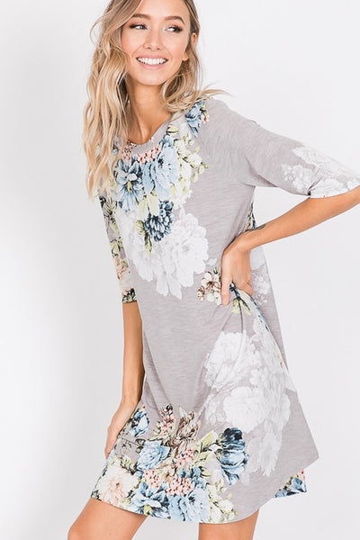 Misty Morning Floral Tunic Swing Dress - Gray