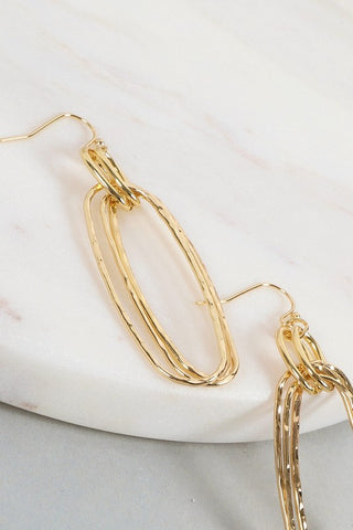 """Olivia"" Triple Layered Oval Hammered Earrings - Gold"