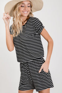 Striped Romper - Navy and Ivory