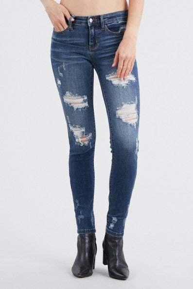 """Johanna"" Judy Blue Destroyed Mid Rise Skinny Jeans"