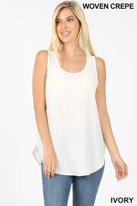 """Daniella"" Dressed Up Tank - Ivory"