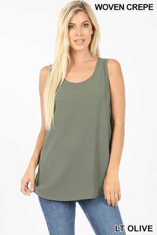 """Daniella"" Dressed Up Tank - Light Olive"