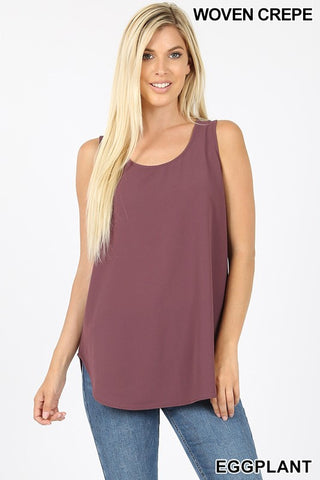 """Daniella"" Dressed Up Tank - Eggplant"