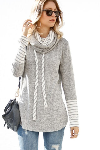 """Marlo"" Mock Neck Tunic Top - Heather Gray"
