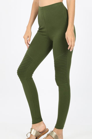 """Miley"" High Waist Moto Leggings - Army Olive"
