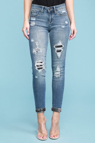 Judy Blue Camo Patched Jeans