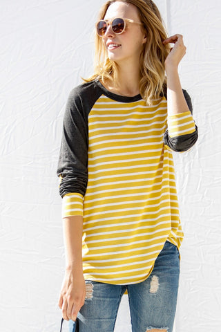 """Starla"" Striped Raglan Tee - Mustard and Charcoal"