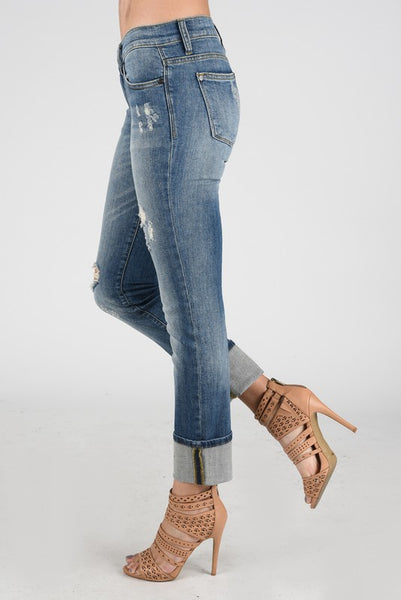 Mid Rise Distressed Straight Leg Jeans by Judy Blue