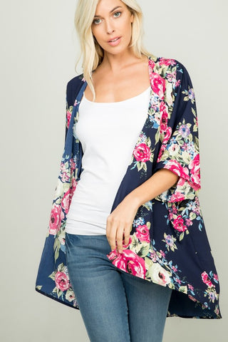 Breeze Catcher Kimono Cardigan - Navy Floral