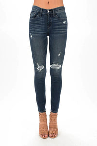 """Jolene"" Judy Blue Dark Wash Distressed Skinny Jeans"
