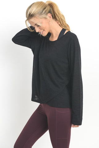 Women's Hacci Pullover with Layered Hem - Black