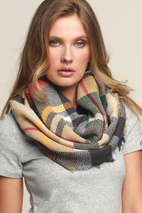 """Colleen"" Everyday Plaid Infinity Scarf - Beige"