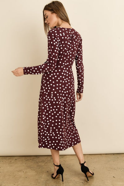 Womens' Long Sleeve Surplice Polka Dot Dress
