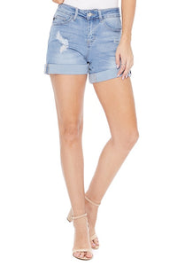 Reverie Distressed Cuffed Light Wash Denim Shorts by Judy Blue