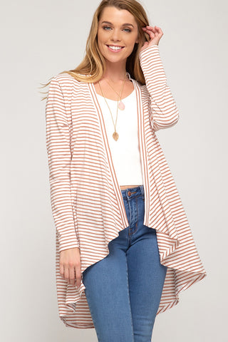 Peaches and Cream High Low Open Front Cardigan - Coral
