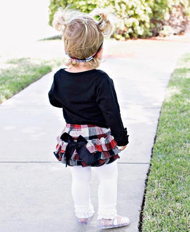 Red, White and Black Buffalo Plaid Ruffled Bloomers