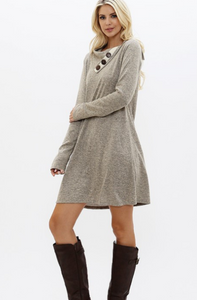 Women's Marled Tunic Dress with Button Detail