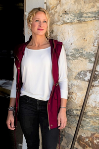 """Vivica"" Military Hooded Vest - Cabernet"