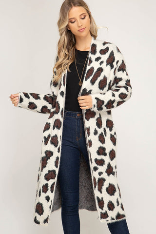 """Nubia"" Leopard Duster Cardigan - White"