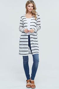 """Hattie"" Striped Duster Length Open Front Cardigan - Black and White"